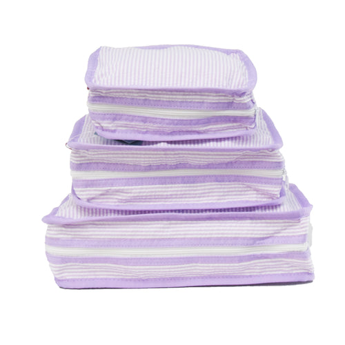Lilac Seersucker Set of 3 Packing Cube Stacking Set