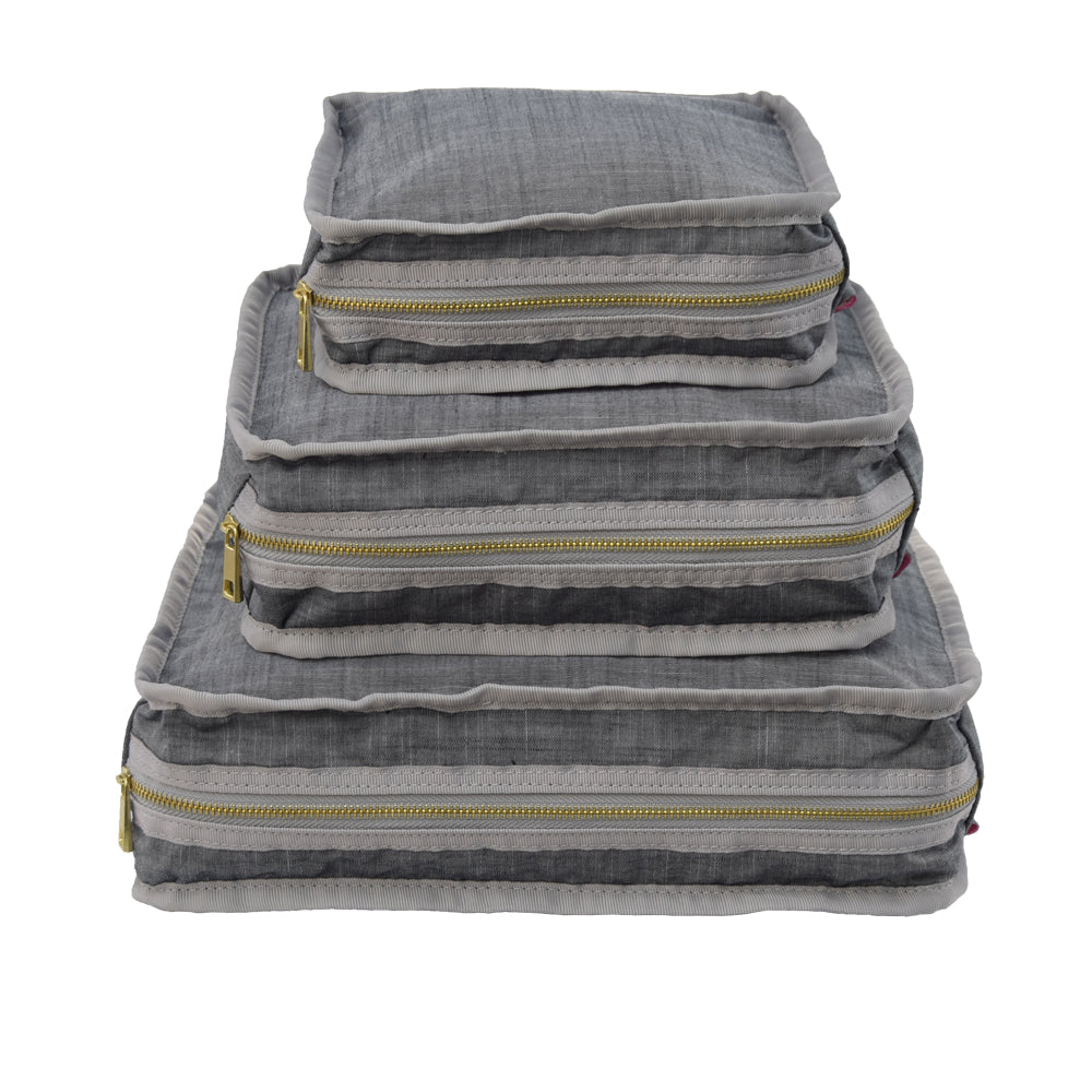 Grey Chambray Set of 3 Packing Cube Stacking Set