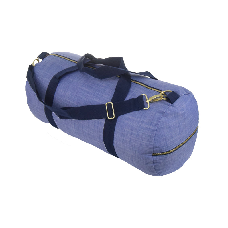Navy Chambray and Brass Weekend Duffel Bag