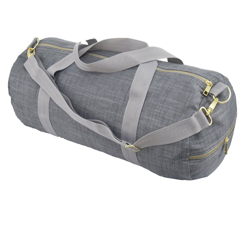 Grey Chambray and Brass Weekend Duffel Bag