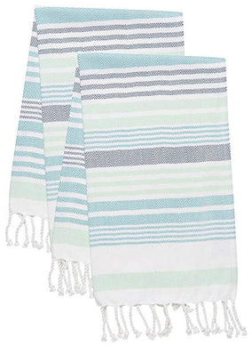 Mint Stripe Hammam Hand Towels - Set of 2