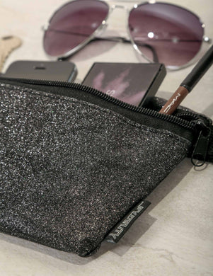 Dazzler Black Glitter Ultra-Slim Fanny Pack