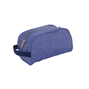 Navy Chambray and Brass Traveler Toiletry Bag