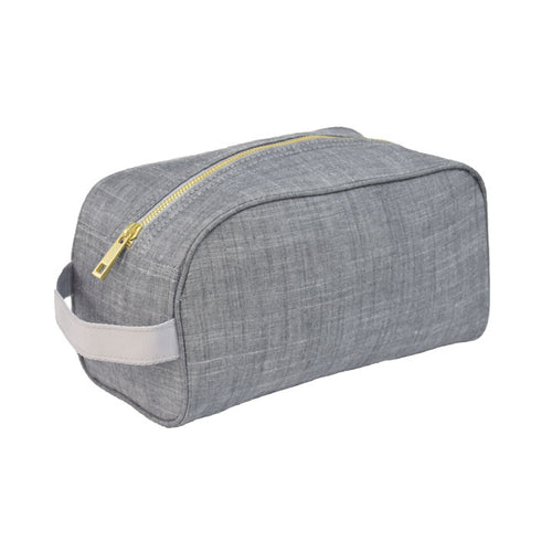 Grey Chambray Traveler Toiletry Bag