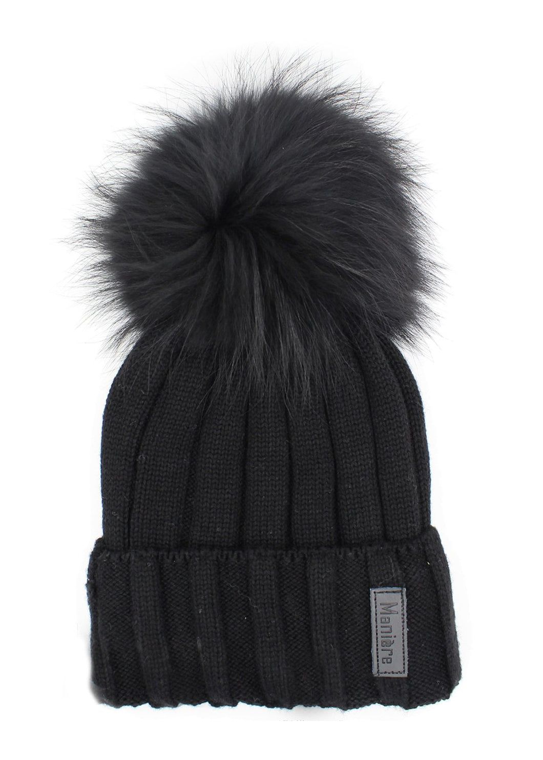 Adult Merino Wool Fur Pom Pom Hat - Black