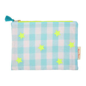 Meri Meri Blue and Neon Gingham Large Zippered Pouch