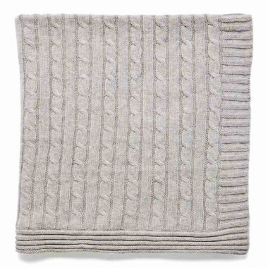 Grey Cable Knit Blanket