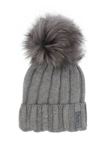 Kids Merino Wool Fur Pom Pom Hat - Charcoal