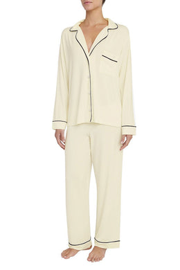 Eberjey: Gisele Long Sleeve, Pant set - Ivory/Navy
