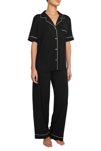 Eberjey: Gisele Short Sleeve, Pant set - Black/Sorbet