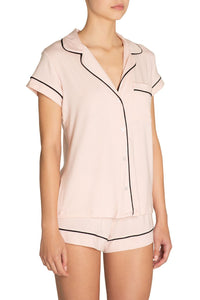 Eberjey: Gisele Short Sleeve, Shorts set - Sorbet/Black