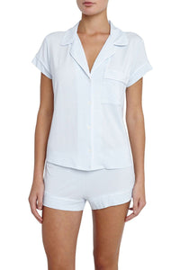 Eberjey: Gisele Short Sleeve, Shorts set - Water Blue