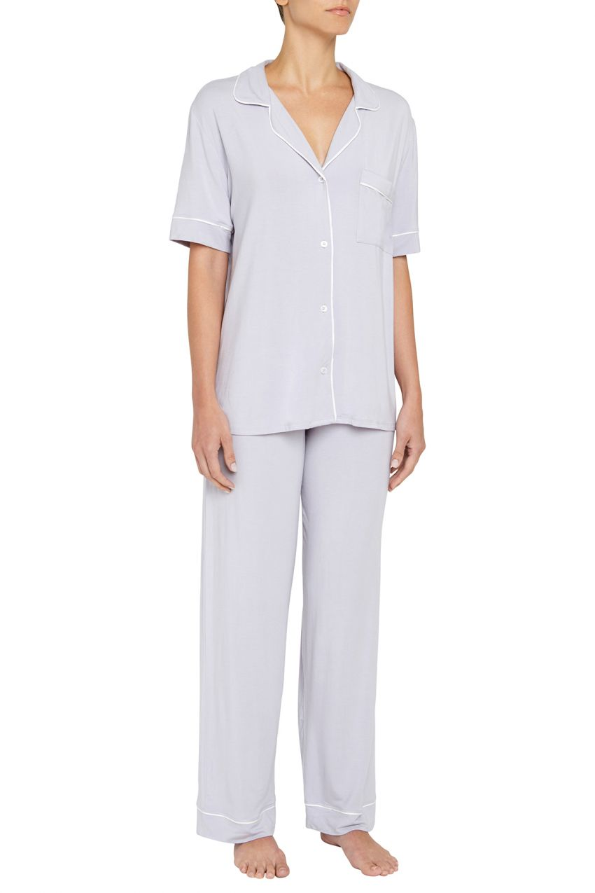 Eberjey: Gisele Short Sleeve, Pant set - Washed Orchid/Ivory