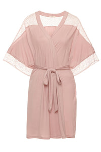 Eberjey: Greta Inset Chemise and Date Robe - Cashmere Rose