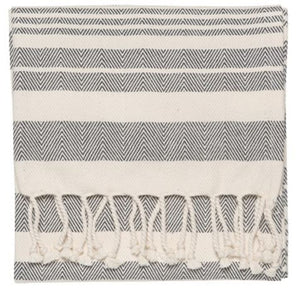 Black Stripe Hammam Hand Towels - Set of 2