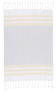 Citron Stripe Hammam Hand Towels - Set of 2
