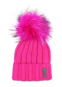 Kids Merino Wool Fur Pom Pom Hat - Hot Pink
