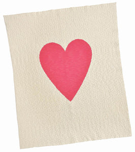 Cream and Hot Pink Single Heart Blanket