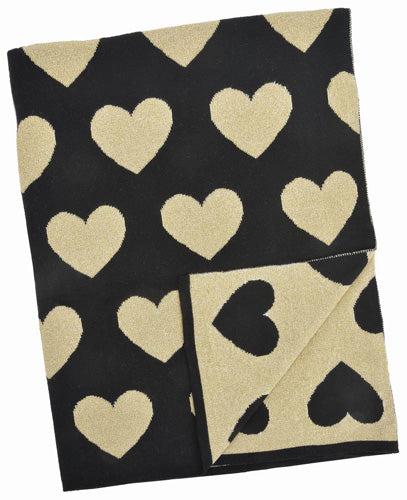 Black and Gold Multi Heart Blanket
