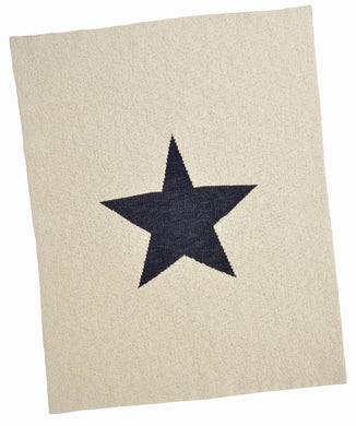 Cream and Navy Single Star Blanket