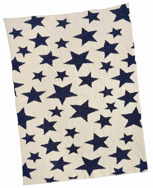 Navy and Cream Multi Star Blanket