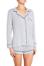 Eberjey: Gisele Long Sleeve, Shorts set - Northern Stripes/Nordic Lights