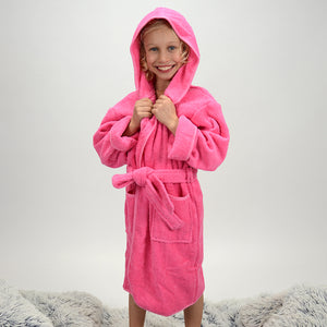 Personalized Terry Children's Bath Robe - Hot Pink