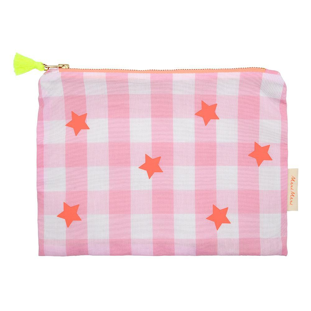 Meri Meri Pink and Neon Gingham Large Zippered Pouch