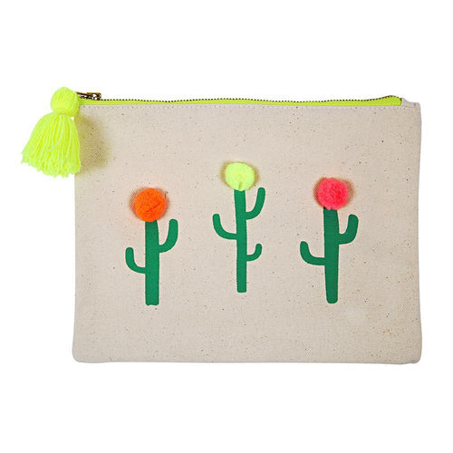 Meri Meri Pom and Cactus Large Canvas Pouch