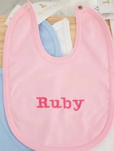 100% Cotton Bib - Pink- Ruby