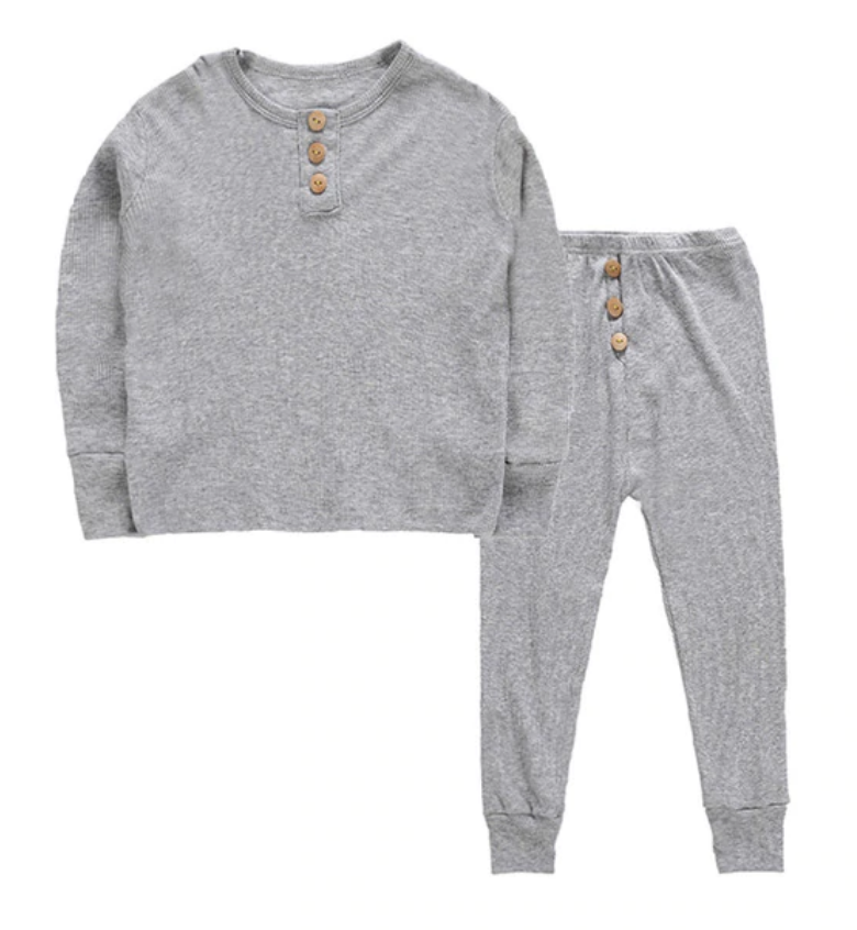 Scotty Ribbed PJ - Grey