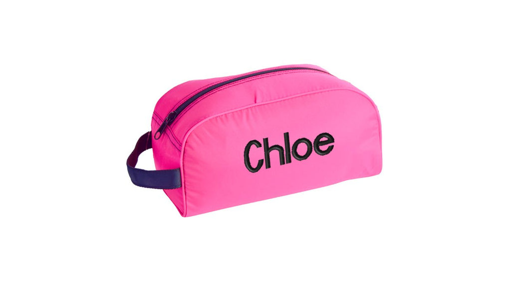 Hot Pink and Black Nylon Traveler Toiletry Bag