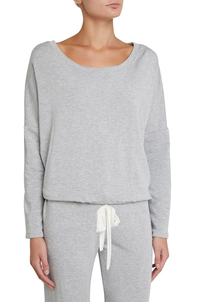 Eberjey: Slouchy Tee and Cropped Pant Set - Heather Grey