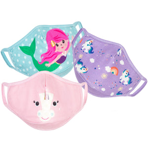 Zoocchini Organic Cotton Face Mask, 3 piece set - Unicorns - Age 3-6