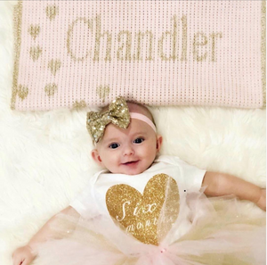 Metallic Sprinkled Hearts Stroller Blanket