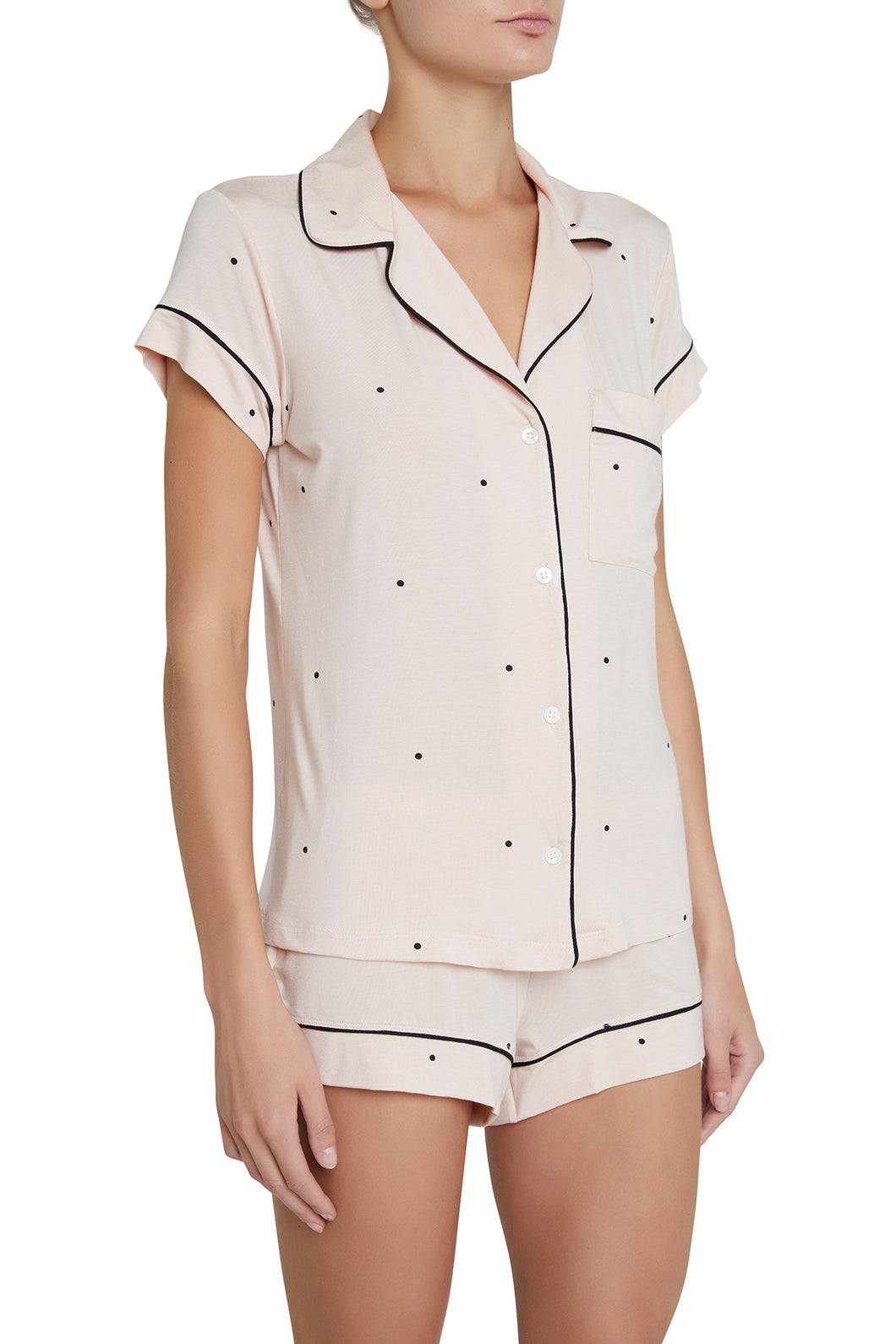 Eberjey: Gisele Short Sleeve, Shorts set - Pink Tint/Black Dot