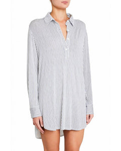 Eberjey: The Boyfriend Longsleeve Sleepshirt - Nordic Stripes