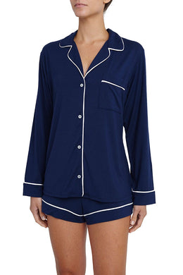 Eberjey: Gisele Long Sleeve, Shorts set - Navy/Ivory