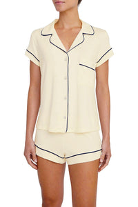 Eberjey: Gisele Short Sleeve, Shorts set - Ivory/Navy