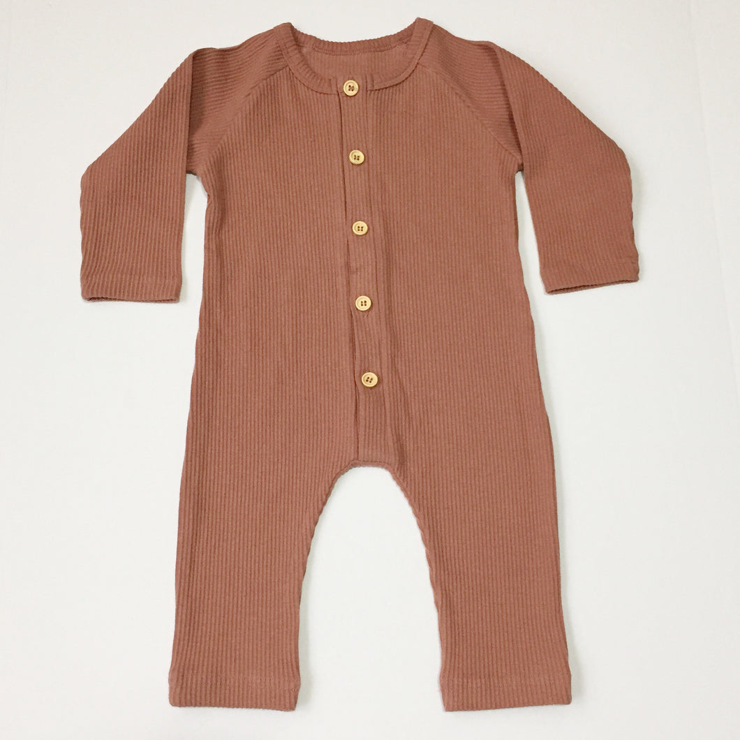 Hunter Ribbed Romper - Dusty Rose