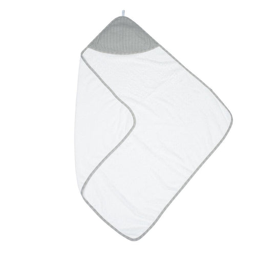Juddlies Organic Bamboo Hooded Towel - White and Driftwood Grey