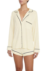 Eberjey: Gisele Long Sleeve, Shorts set - Ivory/Navy