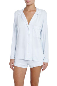 Eberjey: Gisele Long Sleeve, Shorts set -Water Blue/White