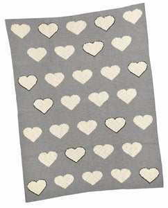 Monochrome Multi Heart Blanket