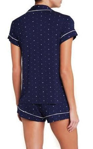Eberjey: Sleep Chic Short Sleeve, Shorts set - Northern Stars/Ivory