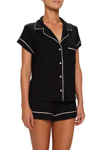 Eberjey: Gisele Short Sleeve, Shorts set - Black/Sorbet