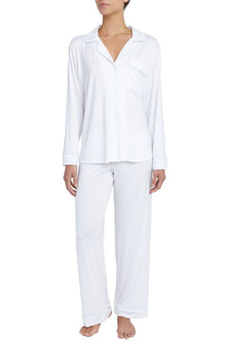 Eberjey: Gisele Long Sleeve, Pant set - White/Water Blue