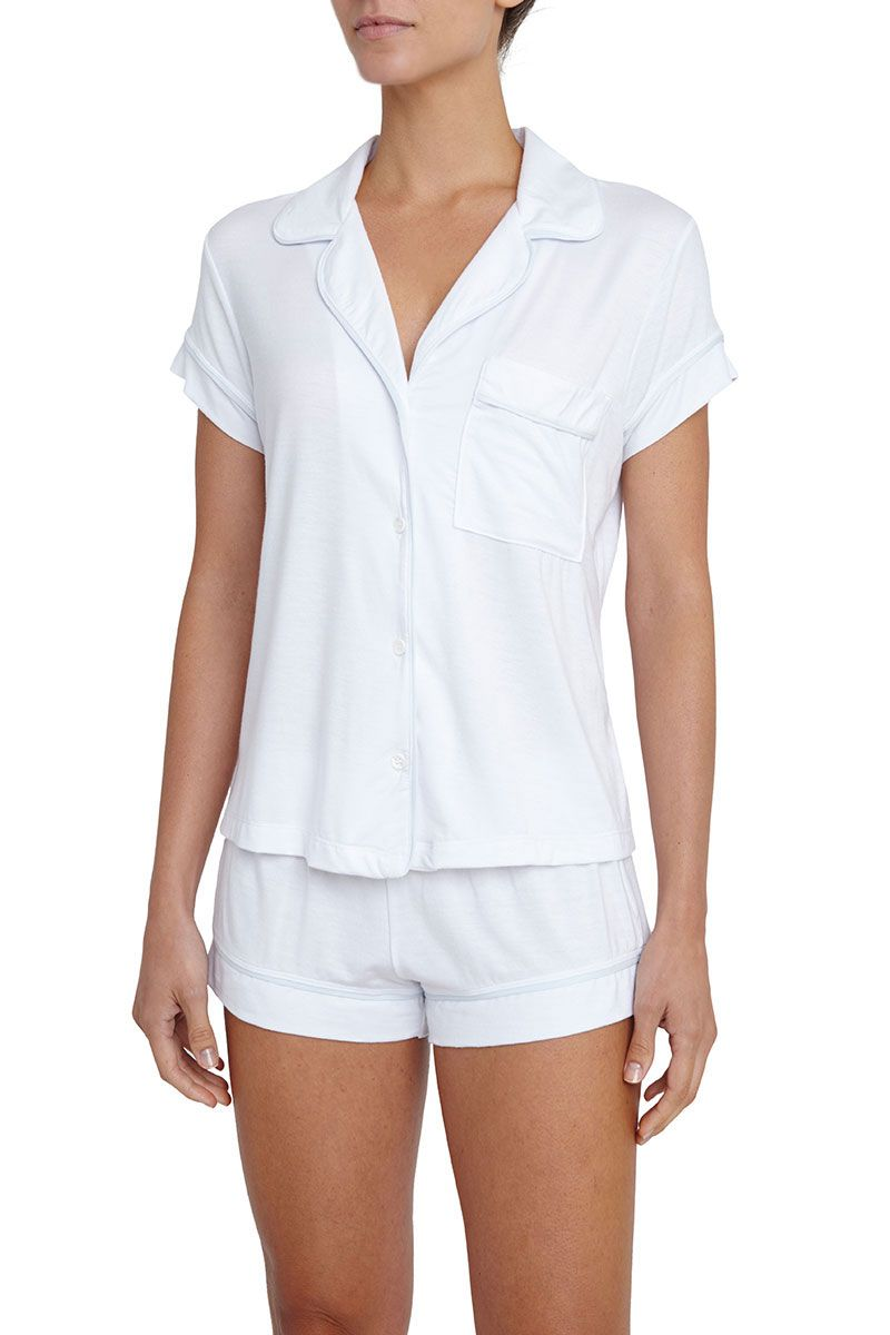 Eberjey: Gisele Short Sleeve, Shorts set White/Water Blue