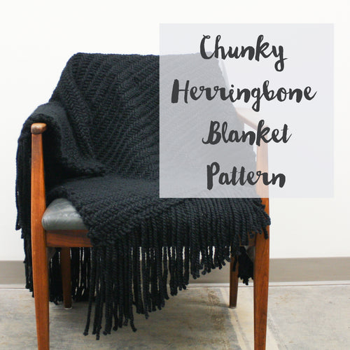 Chunky Herringbone Blanket Knitting Pattern