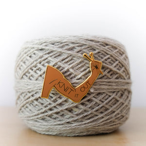 Hard Enamel maker Pin: Knit It Out (version 2)
